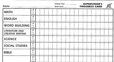 Supervisor's Progress Card from Accelerated Christian Education