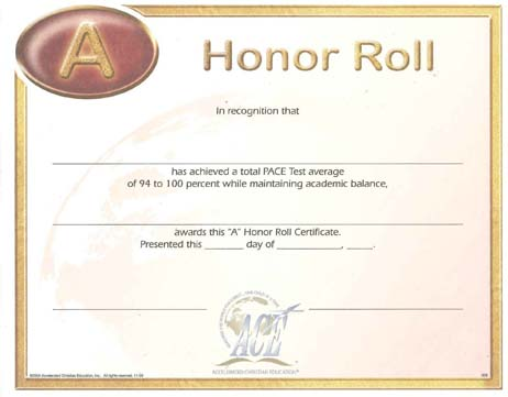 Roll certificate a 94 100 from accelerated christian education honor roll certificate a 94 100 from accelerated christian education yadclub Gallery