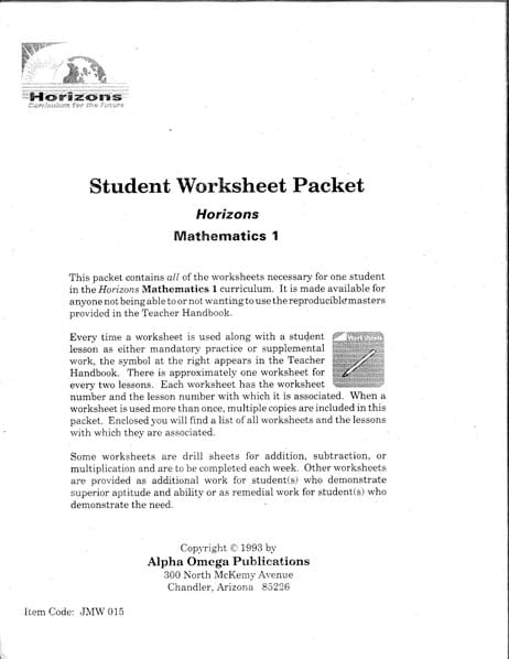Horizons 1st Grade Student Worksheet Packet from Alpha Omega Publications