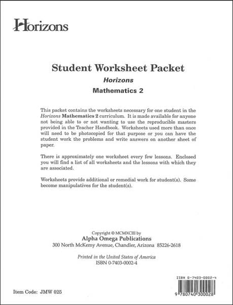 Horizons 2nd Grade Student Worksheet Packet from Alpha Omega Publications