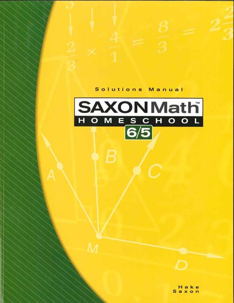 Math 6/5 Homeschool Solution Manual from Saxon Math