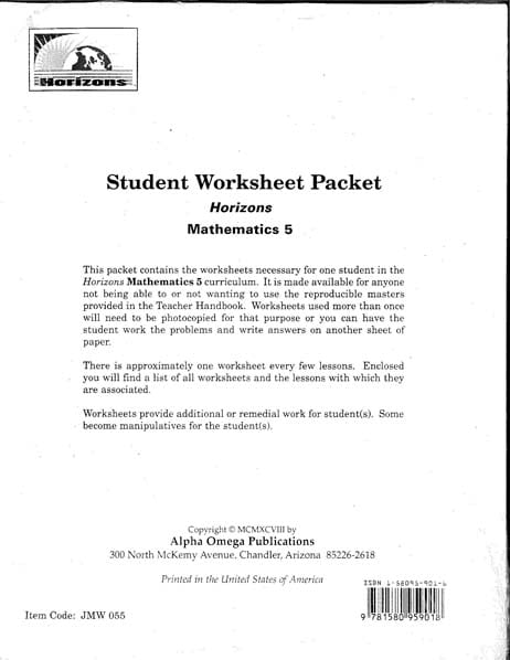 Horizons 5th Grade Student Worksheet Packet from Alpha Omega Publications