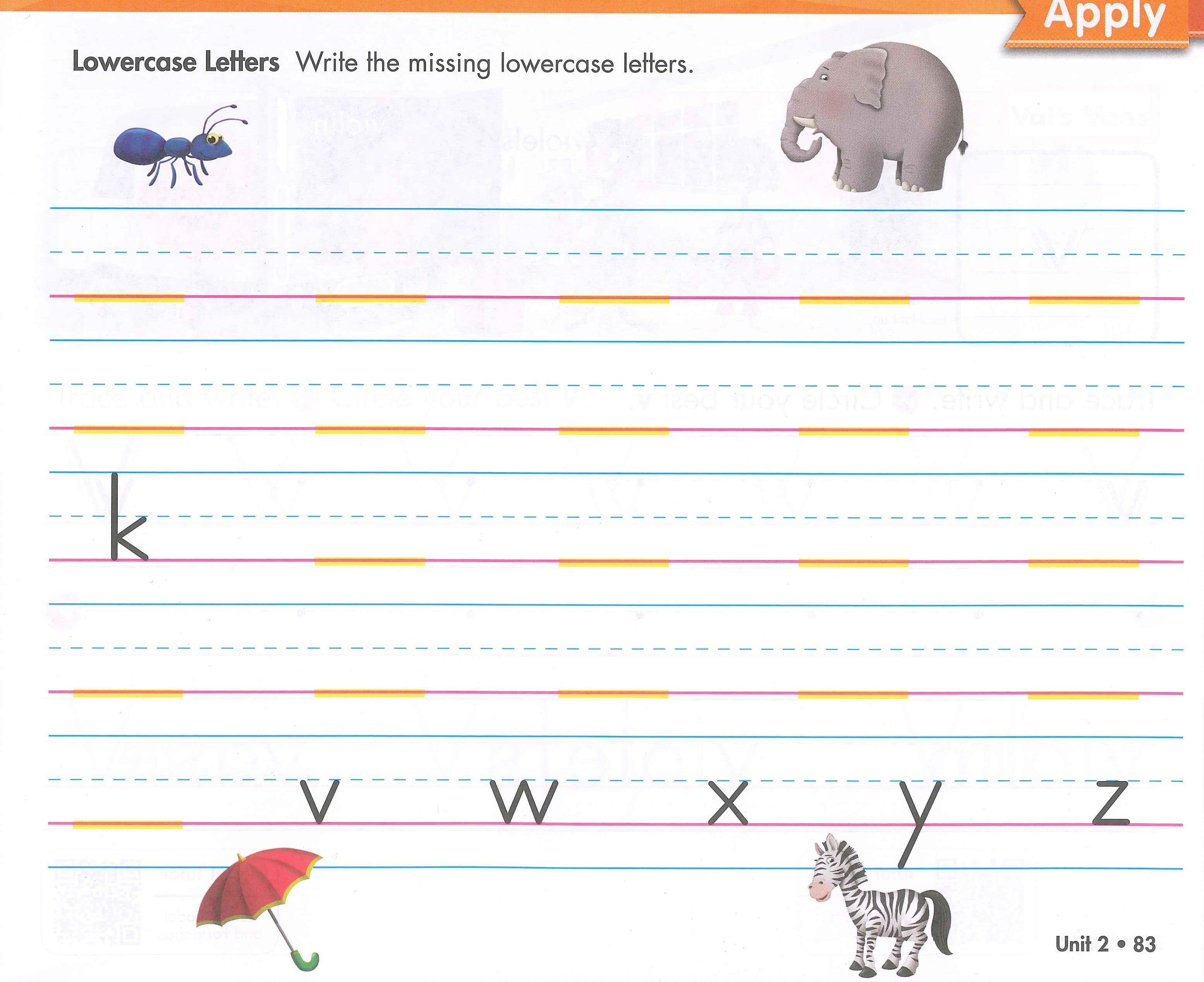 Zaner Bloser Handwriting Worksheets Kindergarten