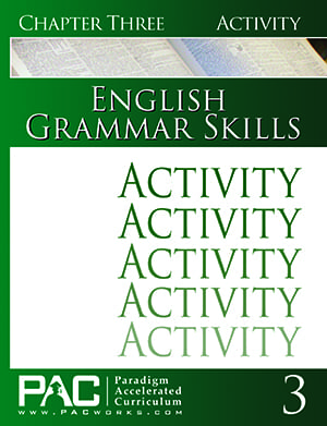English Grammar Skills Chapter 3 Activities from Paradigm Accelerated Curriculum