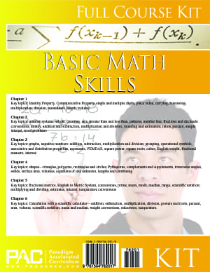Basic Math Skills Kit from Paradigm Accelerated Curriculum