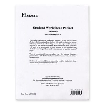 Horizons 3rd Grade Student Worksheet Packet from Alpha Omega Publications