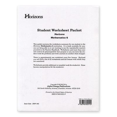 Horizons 6th Grade Student Worksheet Packet from Alpha Omega Publications
